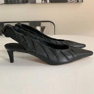 Rebecca Minkoff Black Leather Kitten Heel (Sample)